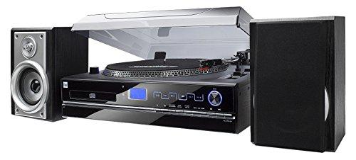 Dual-NR-100-Stereo-Kompaktanlage-mit-Schallplattenspieler-PLL-UKW-Tuner-CDMP3-Player-30-Senderspeicherpltze-Direct-Encoding-35mm-Klinke-SD-Kartenslot-schwarz