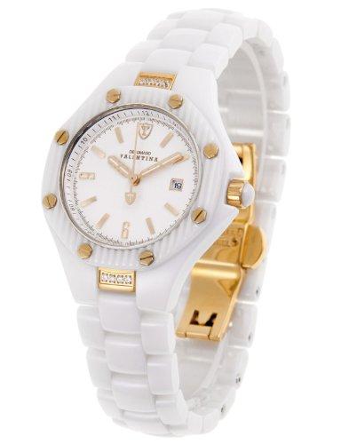 Detomaso DT3005-D - Reloj analógico de cuarzo para mujer con correa de cerámica, color blanco