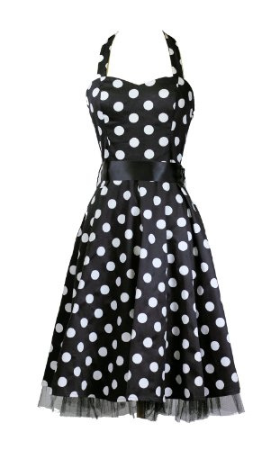 H&R London Polka Dot Halter Style A-Line Swing Dress