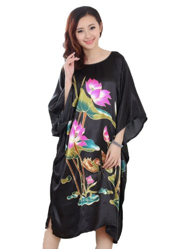 JTC(TM) Women's Nightdress Lady Long Nightgown Yukata Nightshirt Printed Loose
