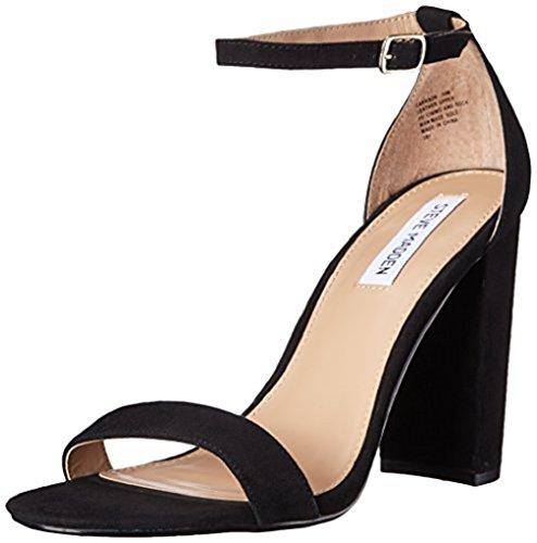 Steve Madden Women's Carrson Dress Sandal, Black Suede, 6 M US