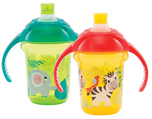 Munchkin Click Lock Bite Proof Soft Spout Trainer Cup, Green/Yellow, 7 Ounce, 2 Count