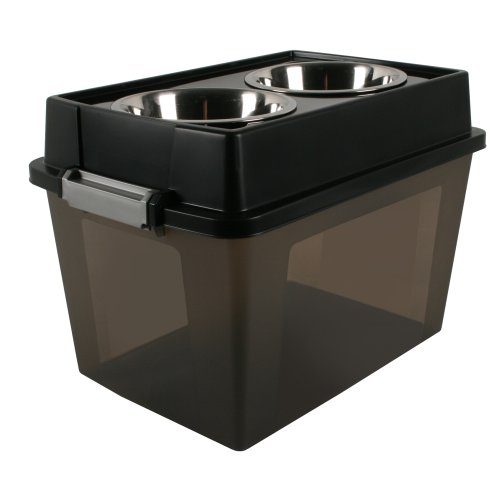 buy iris small elevated feeder with airtight food storage 2 1 pint bowls black at dog food. Black Bedroom Furniture Sets. Home Design Ideas