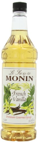 Monin Flavored Syrup, French Vanilla, 33.8-Ounce Plastic Bottles (Pack of 4)