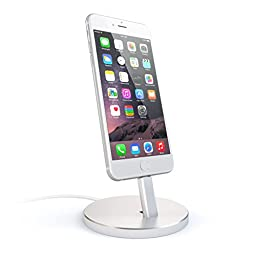 Satechi Aluminum Desktop Charging Stand for iPhone 5 / 5S / 5C / 6 / 6s / 6 Plus / 6s Plus / 7 / 7 Plus/ iPod touch 5G / iPod nano 7G (Silver)