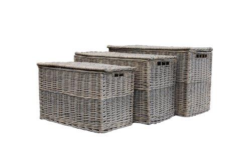 Wicker Set of 3 Grey Storage Trunks / Baskets / Toy Boxes