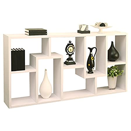 "Horizontal Bookcase Mindy 71"" Unique Bookcase Library Shelving 8 Shelves (White)"