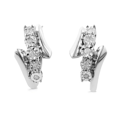0.16ct TDW Diamond Hoop Earrings in Sterling Silver