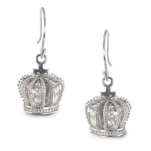 Clevereve Designer Series Sterling Silver & Milgrain Cz Royal Crown Princess Style Earrings 26.0 X 12.0Mm