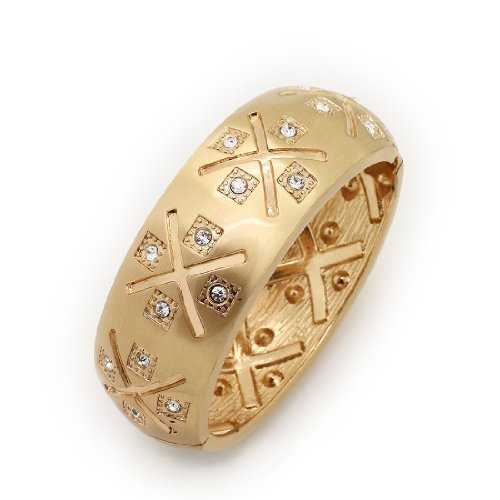 Vintage Gold Tone Metal Textured Oval Hinged Bangle / Bracelet / Cuff with Rhinestones