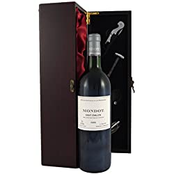 Mondot Saint Emilion 1986 Vintage Red Wine presented in a silk lined wooden box with four wine accessories