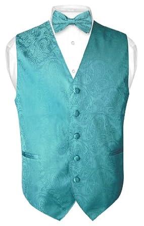 Men's Paisley Design Dress Vest Bow Tie TURQUOISE AQUA BLUE BOWTie Set sz XXL