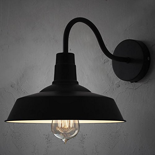 BAYCHEER HL371794 Industrial Retro style Aluminum Barn Warehouse Wall Sconce Wall Lamp Modern Lighting for Restaurant 1 Light, Black 0