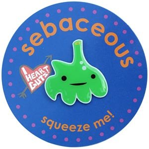 Sebaceous Lapel Pin Squeeze Me I Heart Guts