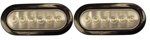 "2X 6"" Oval Clear White Led Backup Reverse Trailer Lights + Grommets"