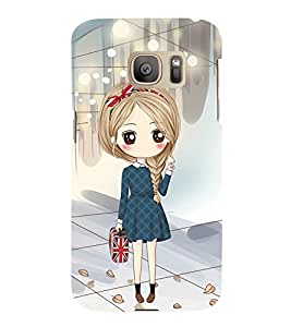 Fuson Premium Back Case Cover Cute office Girl With black Background Degined For Samsung Galaxy S7::Samsung Galaxy S7