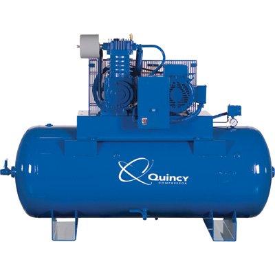 - Quincy Qt-10 Splash Lubricated Reciprocating Air Compressor - 10 Hp, 230 Volt, 3 Phase, 120 Gallon Horizontal, Model# P2103ds12hcb23