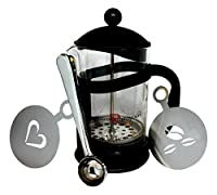 R'stoyours French Coffee Press, Espresso Maker and Tea Maker 6 Cups (27 Ounce), Coffee Scoop and Stencil Combo
