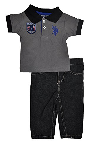 U.S. Polo Assn. Baby-Boys Newborn Solid Pique Polo And Denim Jeans Set, Dark Grey, 3-6 Months