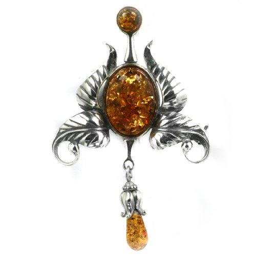 Baltic Honey Amber Sterling Silver Little Museum Collection Classic Pin 19th Century
