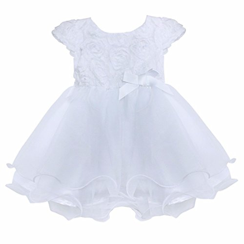 FEESHOW Infant Baby Girls' Organza Layered Baptism Dress White 0-3 Months