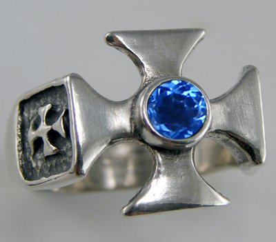 Stunning Sterling Silver Iron Cross Ring Accented with Genuine Siberian Blue Quartz Made in America