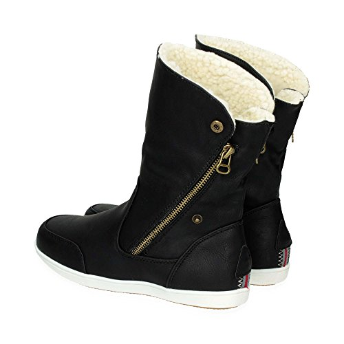 Damen Schlupf Stiefel mit Reißverschluss| Warm gefütterte Stiefeletten im bequemen und modernen Design | Freizeit Boots Schuhe mit flacher Sohle | Gr. 36 bis 41 | Japanolo | Schwarz EU 40