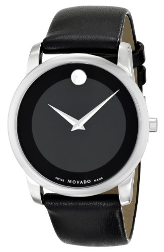 "Movado Men's 0606502 ""Museum"" Stainless Steel and Black Leather Strap Watch"