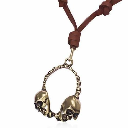 Urban Male Brown Leather Necklace Adjustable Length With Gold Skull Headphone Pendant