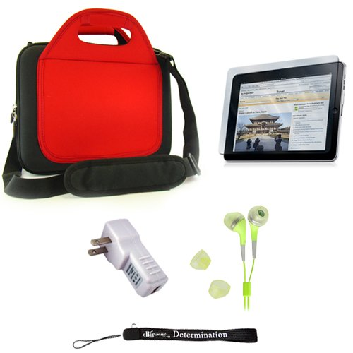 Carrying Case For The Apple Ipad + Determination Hand Strap + Screen Protector + Hd Earbuds (3.5Mm Jack)