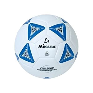 Mikasa Deluxe Soccer, Football, Futbol Ball Size 5-white with Blue by Mikasa Sports