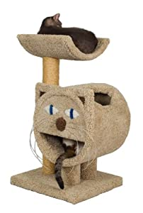 """Molly and Friends """"Tabby's Hide-away"""" Premium Handmade 2-Tier Cat Tree with Sisal, Model 38, Beige"""