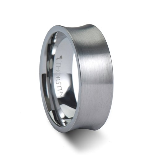 TUCSON Concave Tungsten Wedding Bands for Men with Brushed Finish - 8mm
