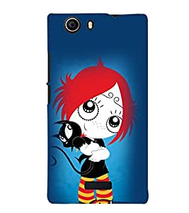 TOUCHNER (TN) Girl With Cat Back Case Cover for MICROMAX NITRO2
