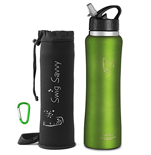 Swig Savvy's Stainless Steel Insulated Water Bottle Wide Mouth 24oz Double Wall Design with Straw Flip Cap - Great For Kids - Sweat Proof - Including Water Bottles Pouch (Green, 32oz) (Football Water Bottles Pack compare prices)
