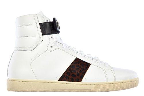 Saint Laurent Paris scarpe sneakers alte uomo in pelle nuove wolly pony giraf bianco EU 43 361276 AQI90 9027