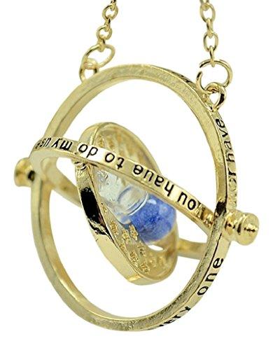 Collana giratempo con ciondolo a forma di clessidra Horcrux, 18ct base metallo placcato oro, colore: blu, cod. HPTT-A01