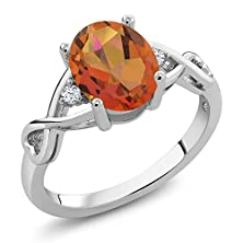 buy 1.85 Ct Oval Twilight Orange Mystic Quartz White Topaz 925 Sterling Silver Ring