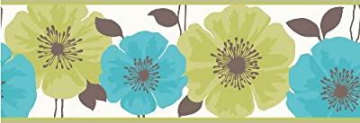 Fine Decor Poppie Wallpaper Border Green Blue White from Fine Decor