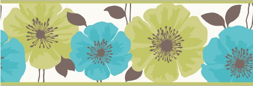 Poppie Lime and Teal Peel and Stick Border