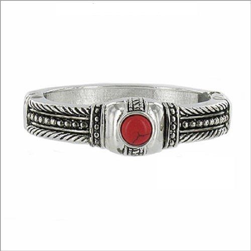 JOA Textured W Natural Stone Hinged Bracelet #040513