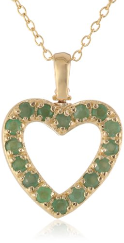 Yellow Gold Plated Sterling Silver Emerald and Diamond Accent Heart Pendant, 18""