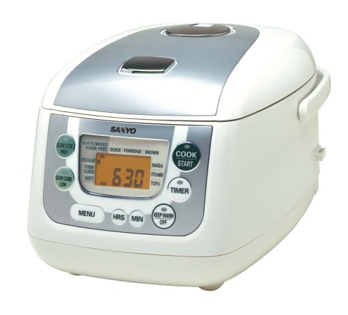 Sanyo ECJ-HC55S 5-1/2-Cup Micro-Computerized Rice Cooker and Slow Cooker, White