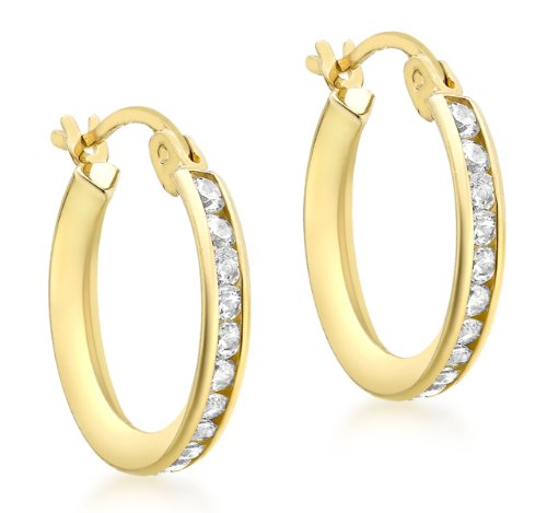 9ct Yellow Gold 16mm Cubic Zirconia Creole Earrings