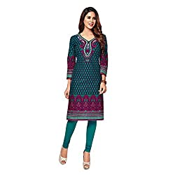 Stylish Girls Women Cotton Printed Unstitched Kurti Fabric (SG_K1013_Green_Free Size)