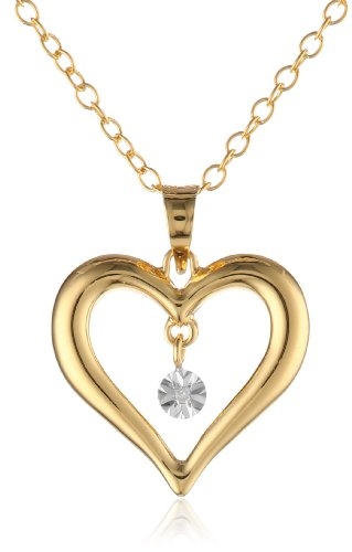 Diaura 14k gold plated sterling silver diamond accent heart pendant the diaura 14k gold plated sterling silver diamond accent heart pendant aloadofball Image collections