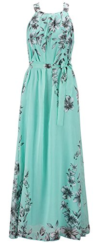 Chinmoon Women's Plus Size Casual Dresses Sleeveless Summer Chiffon Maxi Dress,US X-Large/Asian 2XL,Green