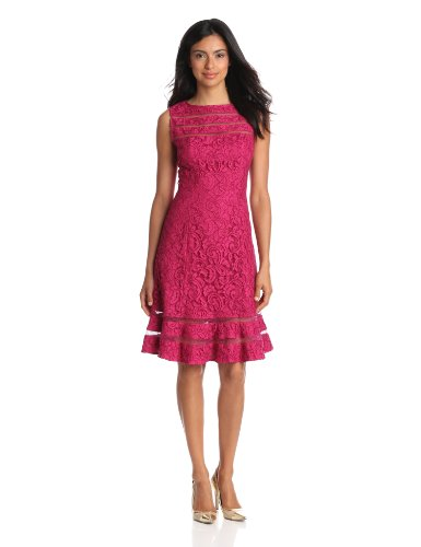 Adrianna Papell Women's Lace Skater Dress, Crushed Berry, 8