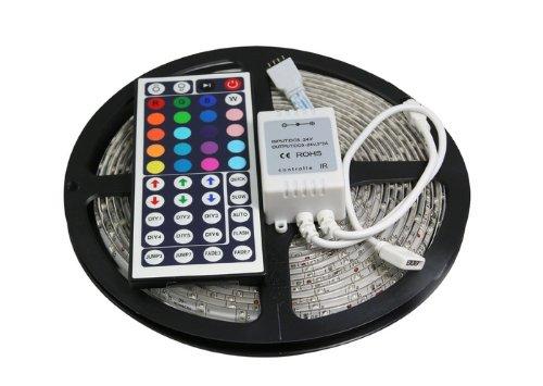 Kiven High Power 16.4Ft Smd 3528 Waterproof 300 Leds Rgb Flexible Dc 12V Led Strip Light Kit +24 Key Ir Remote Controller