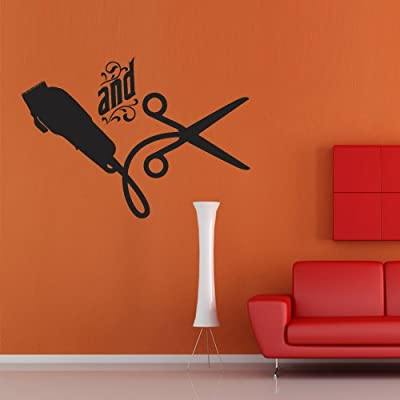 Wall Decal Decor Decals Sticker Art Beauty Salon Hair Words and Haircut Scissors (M361)